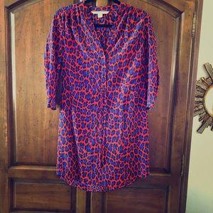 Leopard print DVF drawstring dress with sleeve